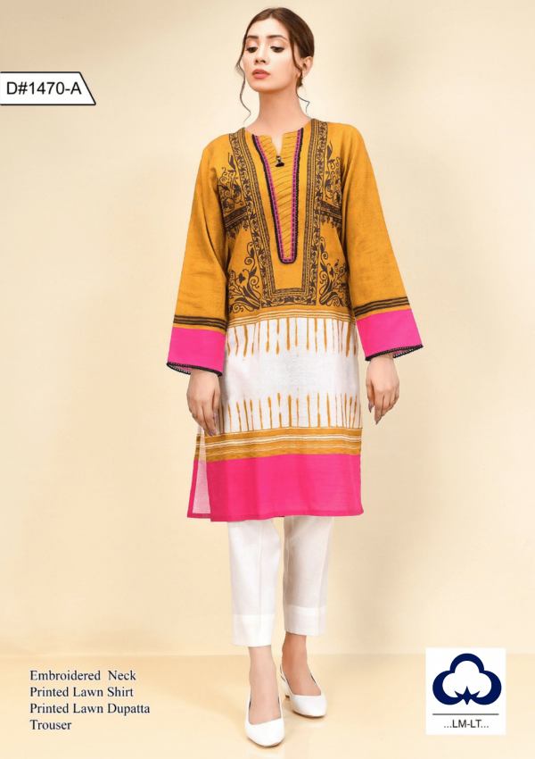 EMBROIDERED 3 PC LAWN WITH CHIFFON DUPATTA