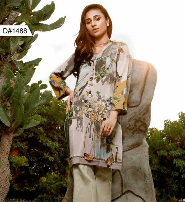 EMBROIDERED 3PC LAWN WITH CHIFFON DUPATTA