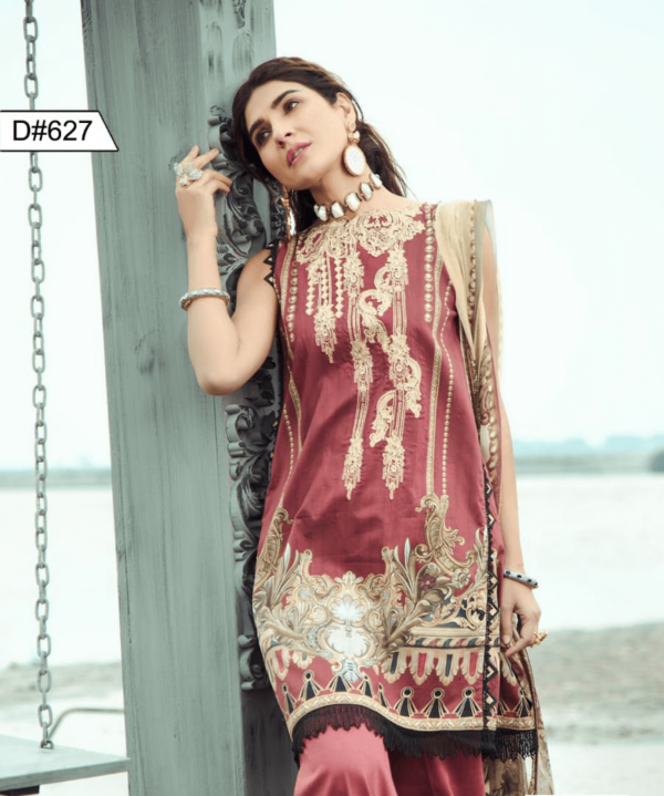 embroidered 3 piece lawn dress