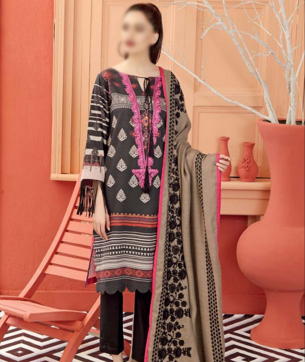 PRINTED EMBROIDERED 3 PC LAWN DRESS
