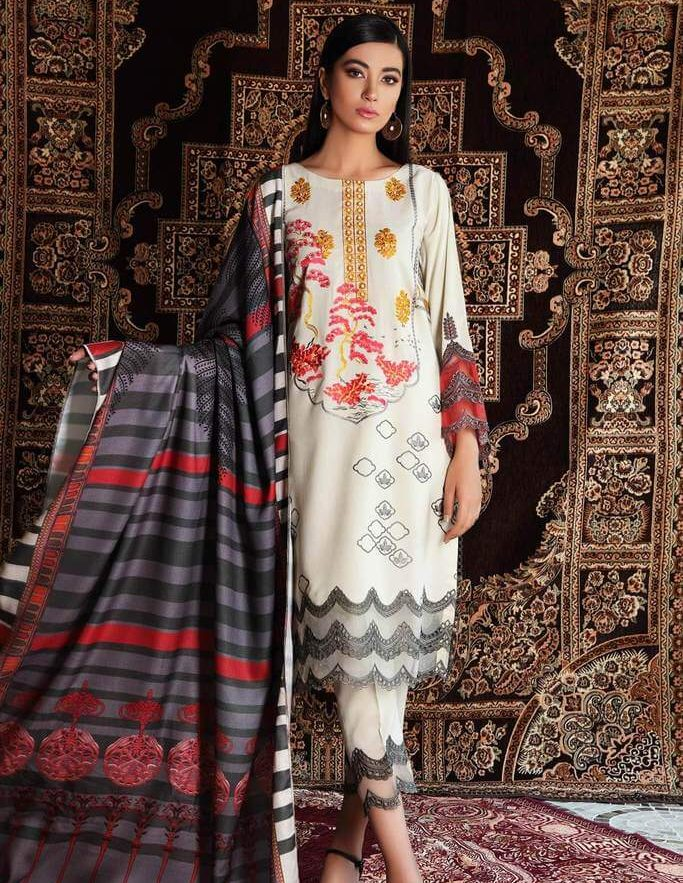 PRINTED EMBROIDERED 3 PC LAEN DRESS